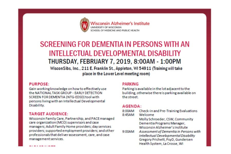 DEMENTIA IN PERSONS WITH IDD @ WisconSibs Office
